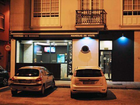 nocturna frente fachada alzado terraza cervecería
