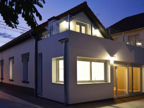 nocturna luz terraza fachada trasera crepusculo