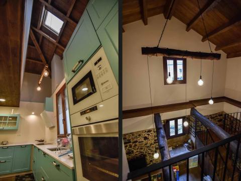 cocina lámparas luz madera viga altura forja